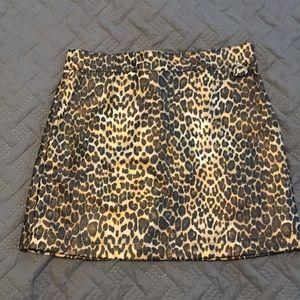 Worn once! Pleather leopard mini